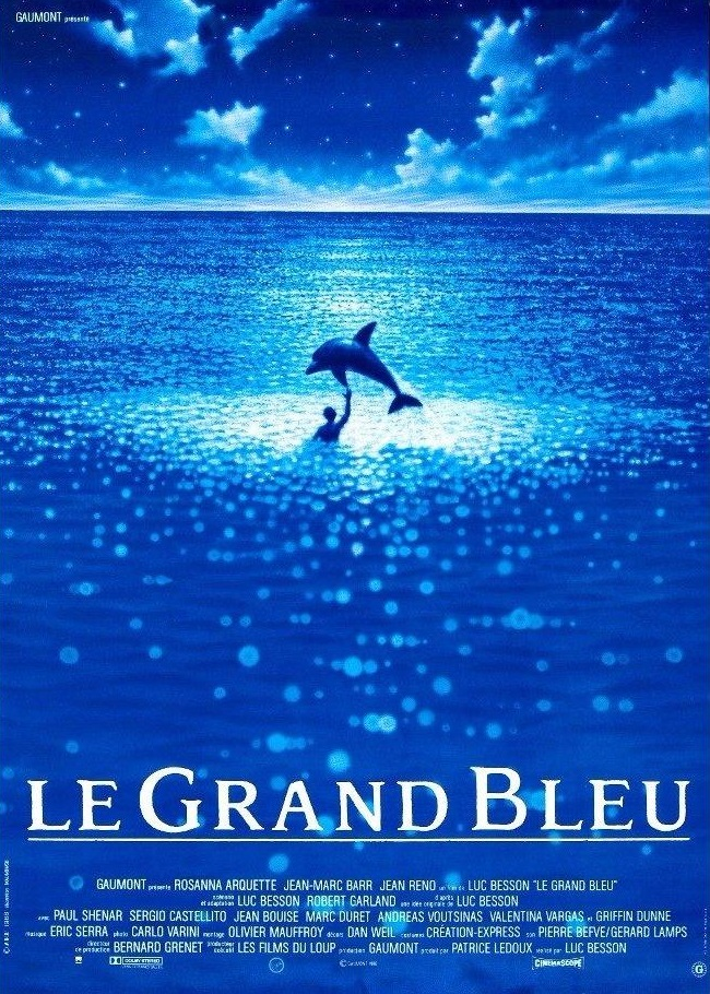 Movie poster for Le Grand Bleu (The Big Blue), and 1988 film.